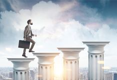 Businessman with suitcase, columns stairs, city. Side view of a businessman with a suitcase climbing columns stairs against a cityscape background. 3d rendering Royalty Free Stock Image
