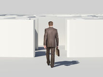 Businessman with suitcase enters labyrinth Stock Image