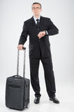 Businessman with suitcase. Royalty Free Stock Images