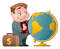 Businessman with suitcase full of money looking for a place on t. He globe. Cartoon styled vector illustration. Elements is grouped and divided into layers Royalty Free Stock Photography