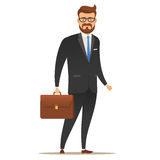 Businessman with a suitcase in his hand. Royalty Free Stock Images