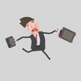 Businessman with suitcase running Royalty Free Stock Images