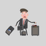 Businessman with suitcases Royalty Free Stock Image