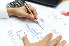 Businessman  Summary report and financial analyzing  market plan Royalty Free Stock Image