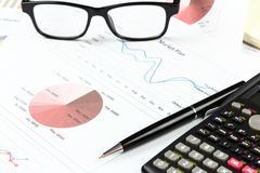 Businessman Summary report and market plan. Analyzing order plan, all Documents Stock Image
