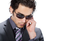 Businessman with sunglasses Stock Images