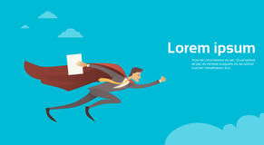 Businessman Super Hero Fly Sky Wear Suit Red Cape Hold Paper Document Copy Space Royalty Free Stock Images