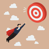 Businessman Super Hero Fly to Big Target Stock Photography