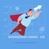 Businessman Super Hero Fly Up Financial Graph Arrow. Flat Vector Illustration Royalty Free Stock Photo