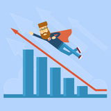 Businessman Super Hero Fly Up Financial Graph Red Arrow. Flat Vector Illustration Royalty Free Stock Images