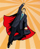 Businessman super hero flying with briefcase. Vector illustration in retro pop art style. Business success comic concept Royalty Free Stock Image