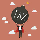 Businessman superhero carry tax bomb Royalty Free Stock Photos