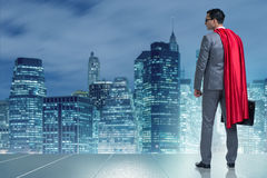 The businessman in superhero concept with red cover Royalty Free Stock Images
