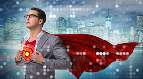 The businessman in superhero concept with red cover. Businessman in superhero concept with red cover stock images