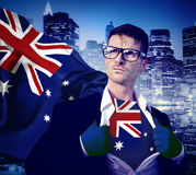Businessman Superhero Country Australian Flag Culture Power Conc Stock Photography