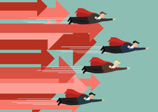 Businessman superhero fly competition with group of arrows in the same direction. Business concept stock illustration