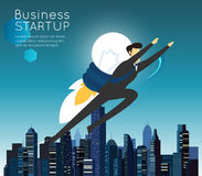 Businessman superhero flying fast for business start up Royalty Free Stock Images
