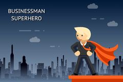 Businessman superhero over night city Stock Photography