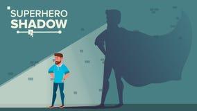 Businessman Superhero Shadow Vector. Successful Superhero Businessman. Achievement Victory. Motivation, Leadership. Challenge Concept. Cartoon Illustration Stock Image