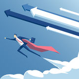 Businessman superman illustration. Vector illustration super businessman and super employee flying in the sky with arrows and clouds, business concept the Stock Photos