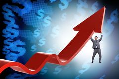 The businessman supporting growtn in economy on chart graph Royalty Free Stock Images