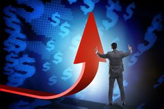 The businessman supporting growtn in economy on chart graph. Businessman supporting growtn in economy on chart graph Royalty Free Stock Photos