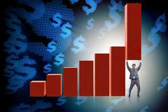 The businessman supporting growtn in economy on chart graph. Businessman supporting growtn in economy on chart graph Stock Photography