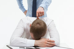 Businessman supporting his collegue in difficult situation. White background Stock Photo