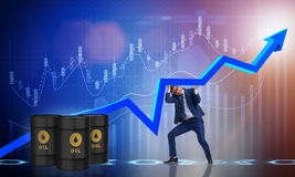 The businessman supporting oil price in business concept Royalty Free Stock Photography