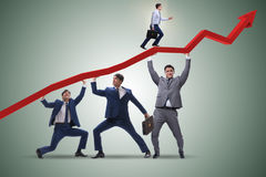 The businessman supporting recovery from economic crisis. Businessman supporting recovery from economic crisis Royalty Free Stock Photo