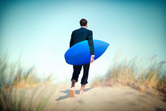 Businessman Surf Corporate Holiday Vacation Concept Royalty Free Stock Photography