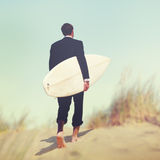 Businessman Surfboard Beach Summer Tropical Vacation Concept Stock Photos