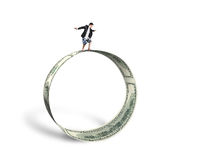 Businessman surfing and balancing on large money circle in white Stock Image