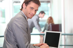 Businessman surfing the internet Stock Photo