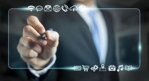 Businessman surfing on internet with digital tactile interface 3 Stock Images