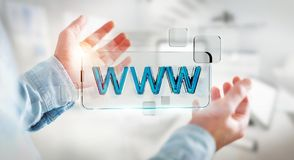 Businessman surfing on internet using tactile web address bar 3D. Businessman using tactile interface web address bar to surf on internet 3D rendering Stock Image