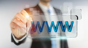 Businessman surfing on internet using tactile web address bar 3D Stock Images