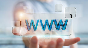 Businessman surfing on internet using tactile web address bar 3D Stock Photography