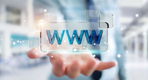 Businessman surfing on internet using tactile web address bar 3D Royalty Free Stock Photos
