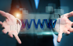 Businessman surfing on internet using tactile web address bar 3D Royalty Free Stock Photo