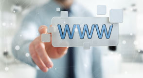 Businessman surfing on internet using tactile web address bar 3D. Businessman using tactile interface web address bar to surf on internet 3D rendering Stock Photos