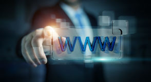 Businessman surfing on internet using tactile web address bar 3D. Businessman using tactile interface web address bar to surf on internet 3D rendering Royalty Free Stock Photo