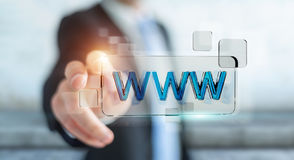 Businessman surfing on internet using tactile web address bar 3D. Businessman using tactile interface web address bar to surf on internet 3D rendering Royalty Free Stock Image