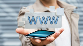 Businessman surfing on internet using tactile web address bar 3D. Businessman using tactile interface web address bar to surf on internet 3D rendering Royalty Free Stock Images