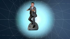 Businessman surfing on a wireframe tunnel, stock footage stock footage