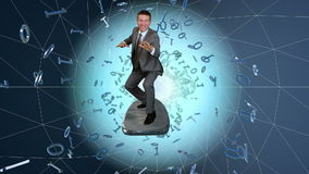 Businessman surfing on a wireframe tunnel surrounded by binary numbers, stock footage stock video