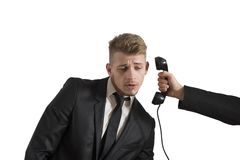 Businessman surprised by a call Stock Images
