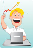 A businessman surprised on his success. A vector illustration of a young man in front of his laptop looks surprise and happy at his success Stock Photo