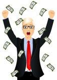 Businessman surprised seeing raining money bills Stock Photos
