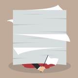Businessman surrender show the white flag under a lot of documen. Ts. Business concept Stock Photos